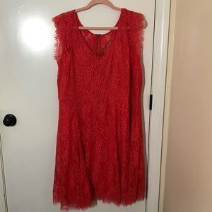 Coral Lace Overlay Dress Torrid 3